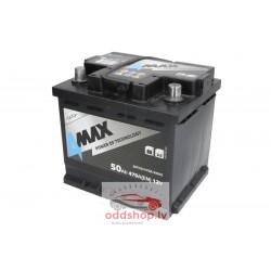 Akumulators 4MAX 12V 50Ah/470A (Labais+ standarta) 210x175x190 B13 - montāžas klemmes 10.5 mm (starta)