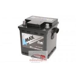 Akumulators 4MAX 12V 41Ah/360A (Labais+ standarta) 175x175x190 B13 - montāžas klemmes 10.5 mm (starta)