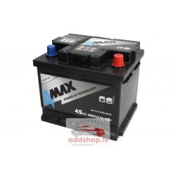 Akumulators 4MAX 12V 45Ah/450A (Labais+ standarta) 207x175x175 B13 - montāžas klemmes 10.5 mm (starta)