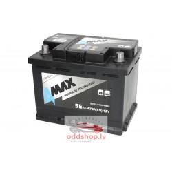 Akumulators 4MAX 12V 55Ah/470A (Labais+ standarta) 242x175x190 B13 - montāžas klemmes 10.5 mm (starta)