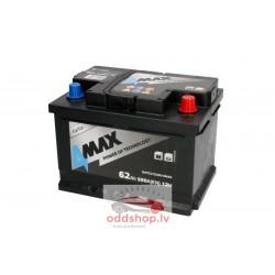 Akumulators 4MAX 12V 62Ah/550A (Labais+ standarta) 242x175x175 B13 - montāžas klemmes 10.5 mm (starta)