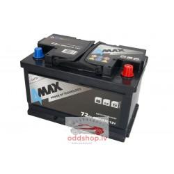Akumulators 4MAX 12V 72Ah/680A (Labais+ standarta) 278x175x175 B13 - montāžas klemmes 10.5 mm (starta)