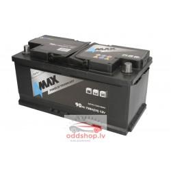 Akumulators 4MAX 12V 90Ah/720A (Labais+ standarta) 353x175x175 B13 - montāžas klemmes 10.5 mm (starta)